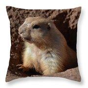 Cute Prairie Dog Climbing Out Of A Hole Throw Pillow