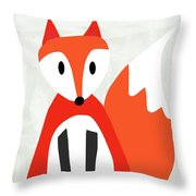 Cute Red And White Fox- Art By Linda Woods Throw Pillow