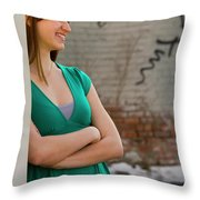 Cute Strawberry Blonde Girl Throw Pillow