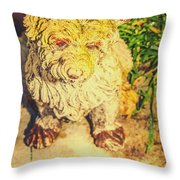 Cute Weathered White Garden Ornament Of A Dog Throw Pillow