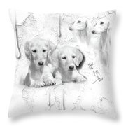 Cute White Salukis With Puppies Throw Pillow
