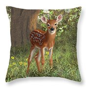 Cute Whitetail Fawn Throw Pillow by Crista Forest