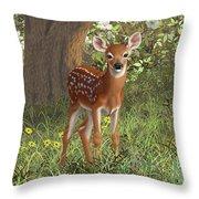 Cute Whitetail Fawn Throw Pillow