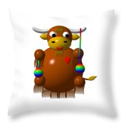 Cute Yak With Yo Yos Throw Pillow