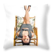 Cute Young Woman Sitting Upside Down On Chair Throw Pillow