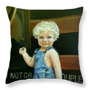 Cutie By The Train Throw Pillow
