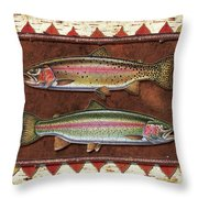 Cutthroat And Rainbow Trout Lodge Throw Pillow by JQ Licensing