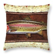 Cutthroat Trout Lodge Throw Pillow