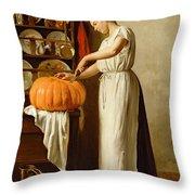 Cutting The Pumpkin Throw Pillow