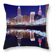 Cuyahoga Reflecting The City Above Throw Pillow