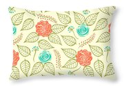 Cyan And Orange Floral Pattern Throw Pillow