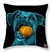 Cyan Boxer Mix Dog Art - 8173 - Bb Throw Pillow