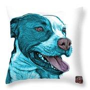 Cyan Bull Fractal Pop Art - 7773 - F - Wb Throw Pillow