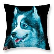 Cyan Modern Siberian Husky Dog Art - 6024 - Bb Throw Pillow