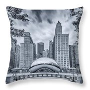 Cyanotype Anish Kapoor Cloud Gate The Bean At Millenium Park - Chicago Illinois Throw Pillow