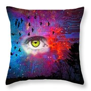Cyber Nature Throw Pillow