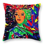 Cyberspace Goddess Throw Pillow
