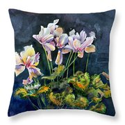 Cyclamen In A Vase Throw Pillow