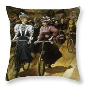 Cycling Fashions, 1895 Throw Pillow