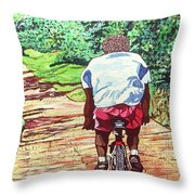 Cycling Home Throw Pillow