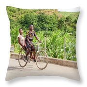 Cycling In Malawi Throw Pillow