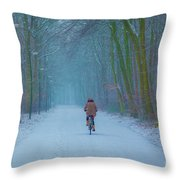 Cycling In The Snow Throw Pillow