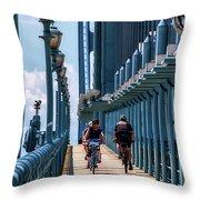 Cycling The Bridge Throw Pillow
