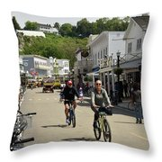 Cycling The Island Throw Pillow