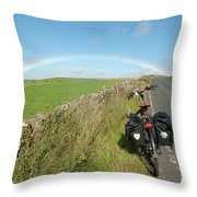 Cycling To The Rainbow Throw Pillow