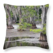 Cypress And Spanish Moss Of Caddo Lake State Park 4 Throw Pillow