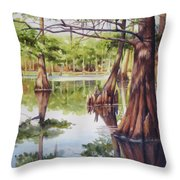 Cypress In Lake Chicot Throw Pillow