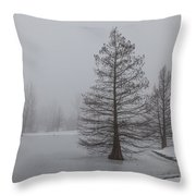 Cypress In The Fog Throw Pillow