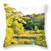 Cypress Trees Along The Guadalupe Throw Pillow