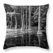 Cypresses In Tallahassee Black And White Throw Pillow