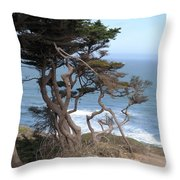 Cypress On The Cliff 15 Throw Pillow