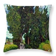 Cypresses With Two Figures, By Vincent Van Gogh, 1889-1890, Krol Throw Pillow