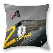 D Day Doll Throw Pillow