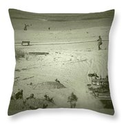 D-day Reenactment Throw Pillow