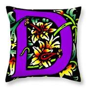 D In Purple Throw Pillow