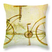 Da Vinci Inventions First Bicycle Sketch By Da Vinci Throw Pillow