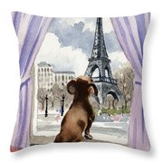 Dachshund In Paris Throw Pillow