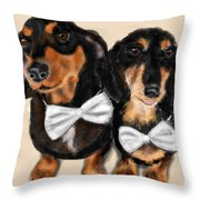 Dachshunds And Bowties Throw Pillow