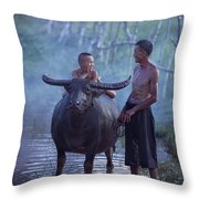 Dad And Child Happy To Live In The Countryside,thailand, Vietnam Throw Pillow