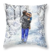 Dad And Child In The Winter Snow Throw Pillow