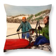 Dad And Denny In A Winter Field Throw Pillow