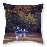 Dad And Sons Fishing Throw Pillow