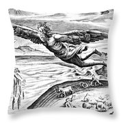 Daedalus Escaping From Crete With His Son, Icarus, Sees Him Falling To His Death Throw Pillow