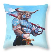 Daedalus Minotaur Of Crete Throw Pillow