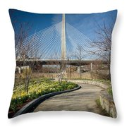 Daffodil Curve Throw Pillow by Susan Cole Kelly