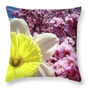 Daffodil Flower Art Prints Pink Tree Blossoms Blue Sky Baslee Throw Pillow